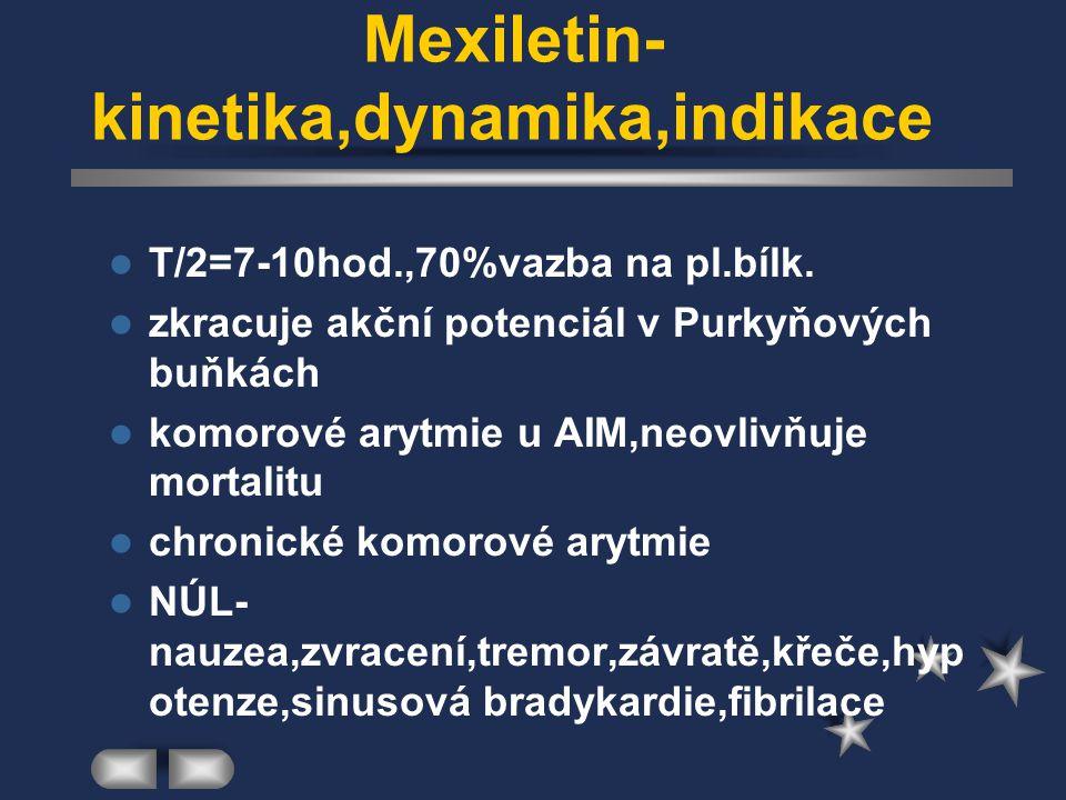 Mexiletin-kinetika,dynamika,indikace