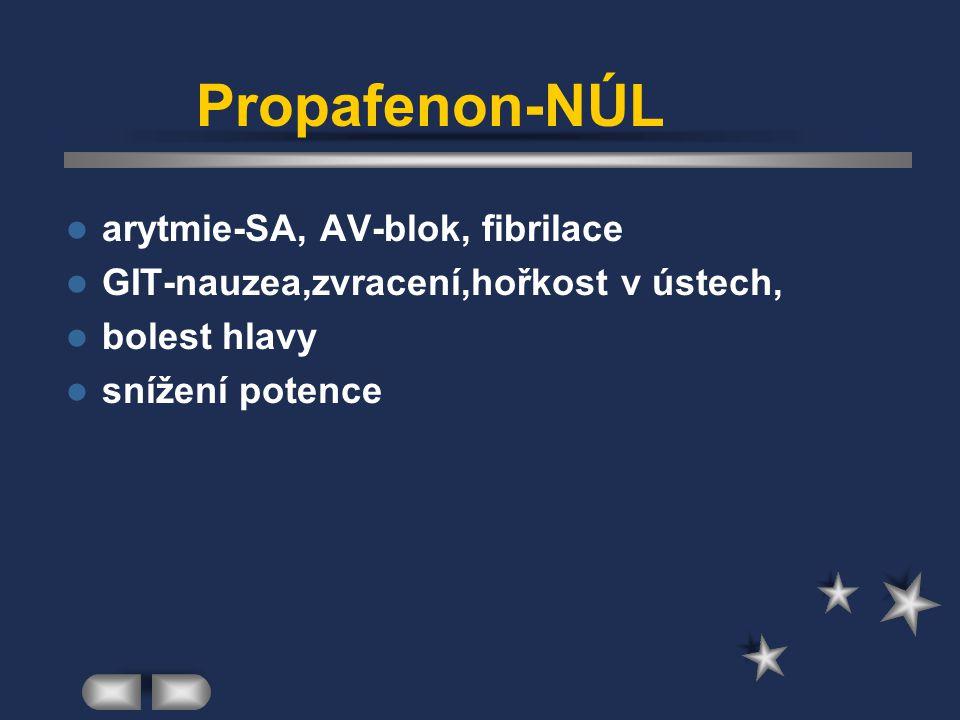 Propafenon-NÚL arytmie-SA, AV-blok, fibrilace