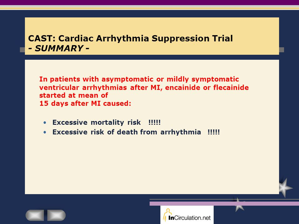 CAST: Cardiac Arrhythmia Suppression Trial - SUMMARY -