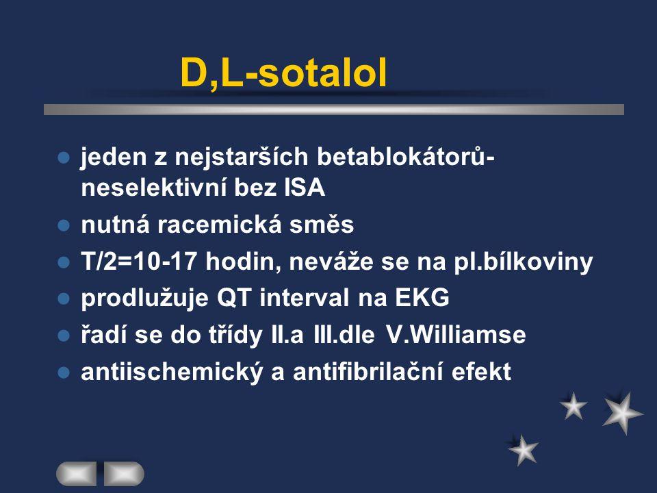 D,L-sotalol jeden z nejstarších betablokátorů-neselektivní bez ISA