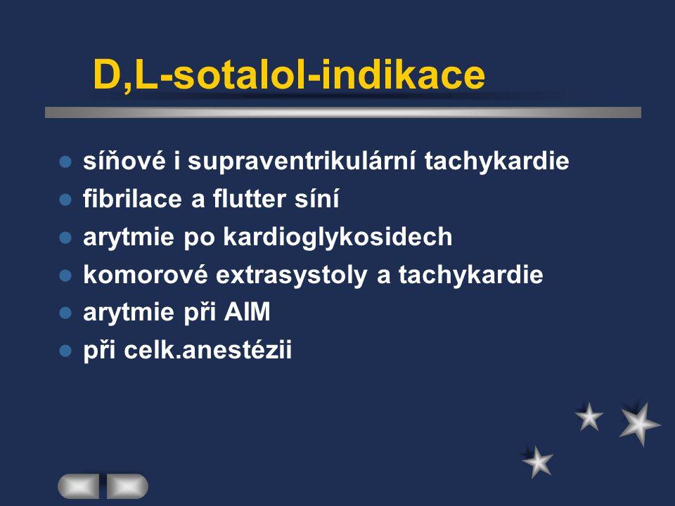 D,L-sotalol-indikace síňové i supraventrikulární tachykardie