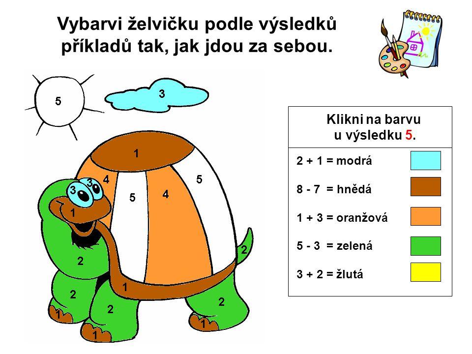 Vybarvi želvičku podle výsledků příkladů tak, jak jdou za sebou.
