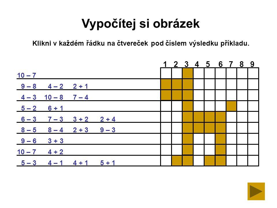 Klikni v každém řádku na čtvereček pod číslem výsledku příkladu.