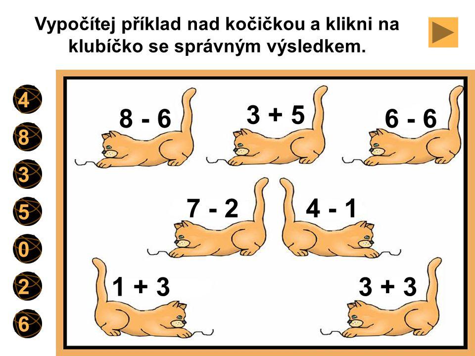 Vypočítej příklad nad kočičkou a klikni na klubíčko se správným výsledkem.