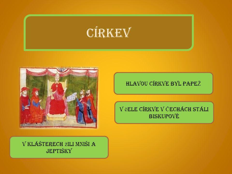 CÍRKEV Hlavou církve byl PAPEŽ V čele církve v Čechách stáli biskupové