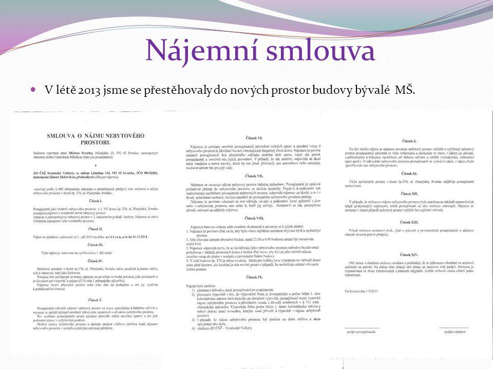 Nájemní smlouva V létě 2013 jsme se přestěhovaly do nových prostor budovy bývalé MŠ.