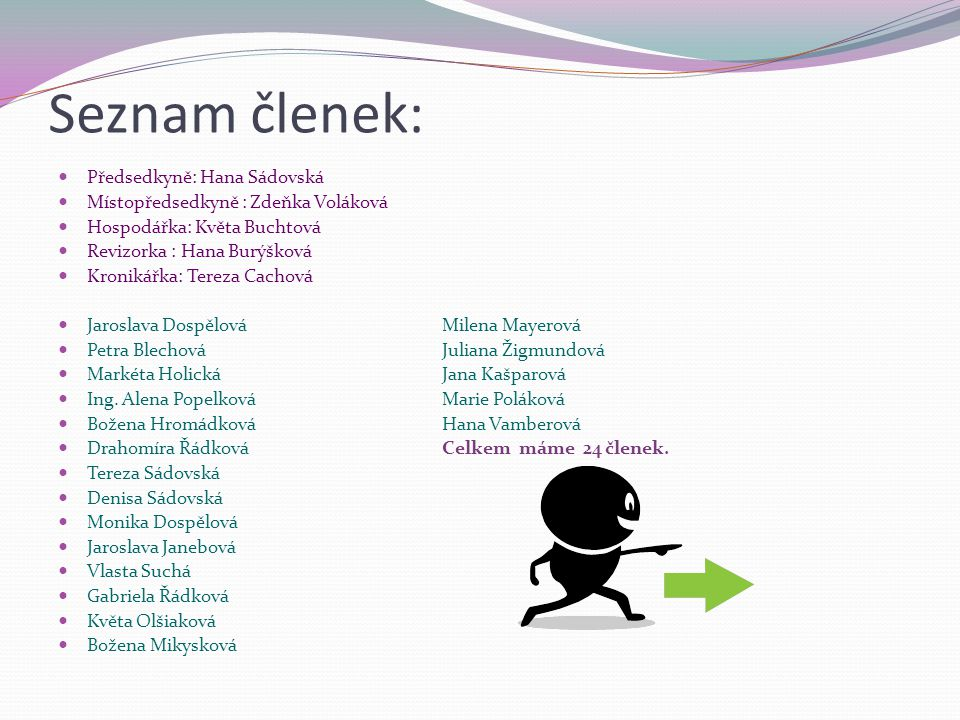 Seznam členek: Předsedkyně: Hana Sádovská