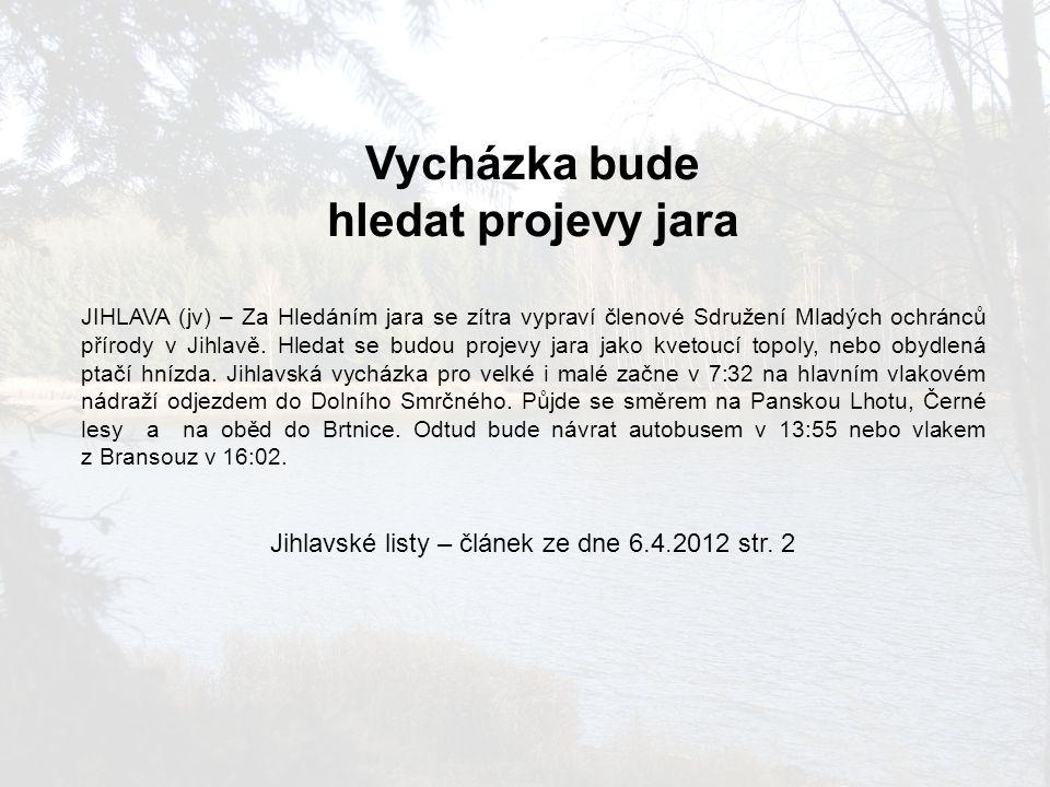 Jihlavské listy – článek ze dne 6.4.2012 str. 2