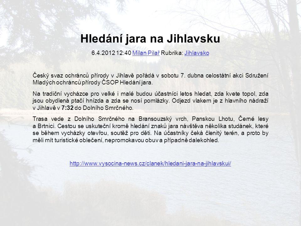 Hledání jara na Jihlavsku