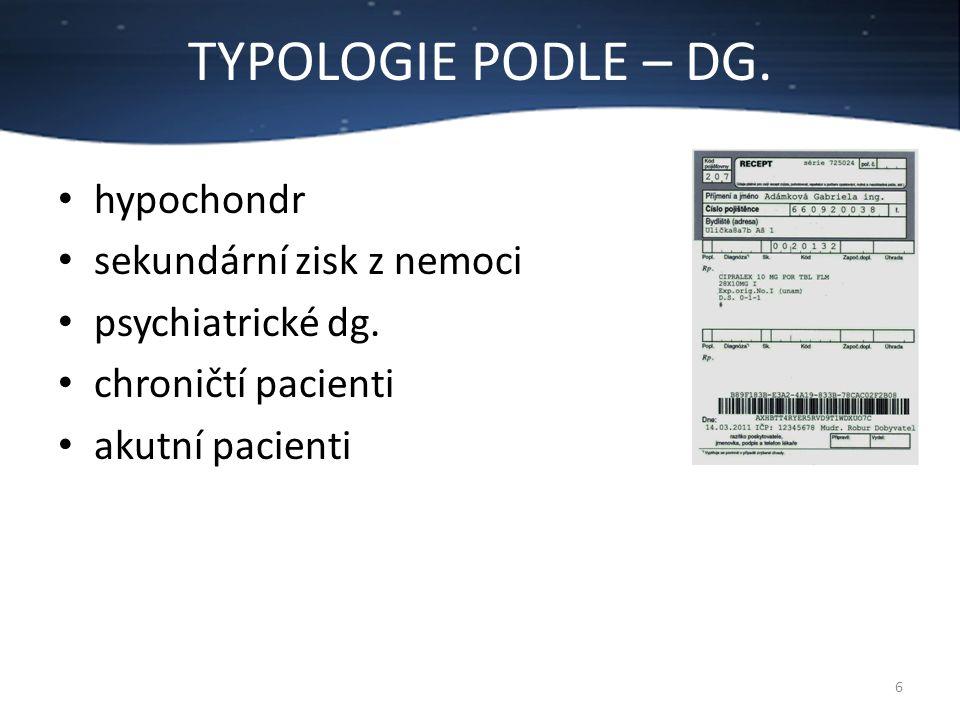 TYPOLOGIE PODLE – DG. hypochondr sekundární zisk z nemoci
