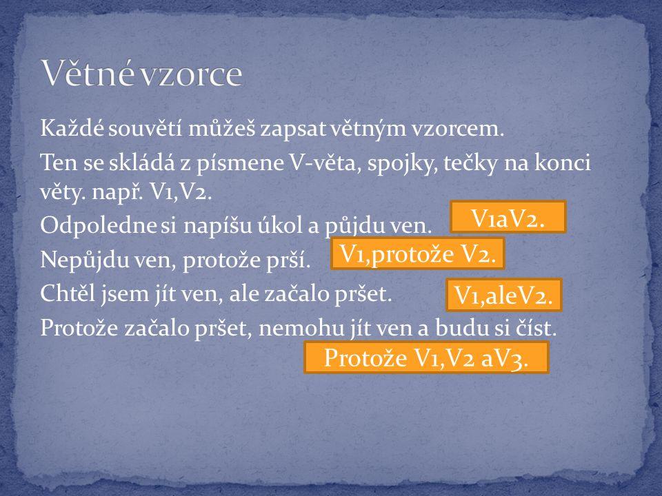 Větné vzorce V1aV2. V1,protože V2. V1,aleV2. Protože V1,V2 aV3.