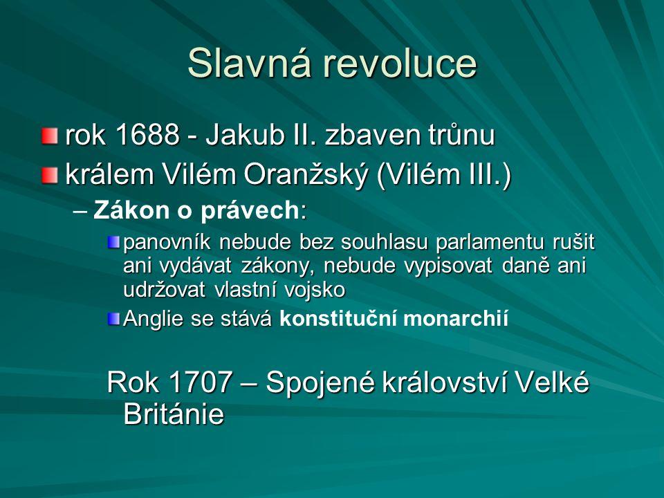 Slavná revoluce rok 1688 - Jakub II. zbaven trůnu