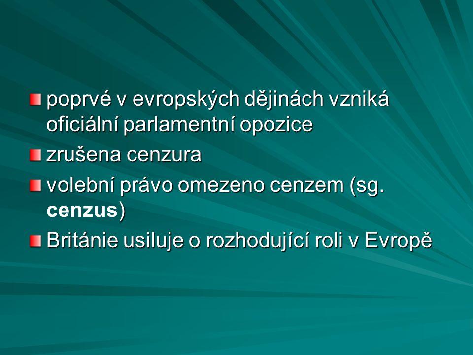 poprvé v evropských dějinách vzniká oficiální parlamentní opozice