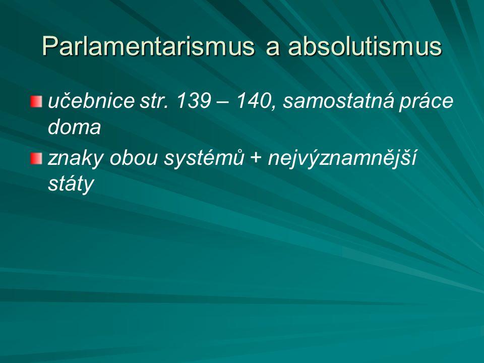 Parlamentarismus a absolutismus