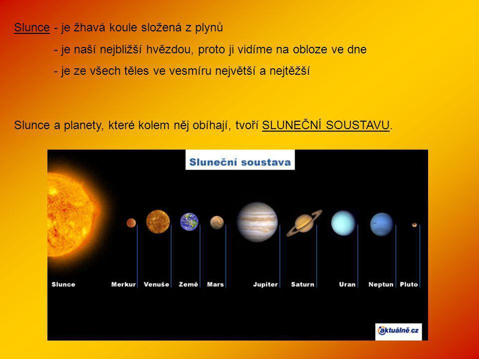 Slunce - je žhavá koule složená z plynů