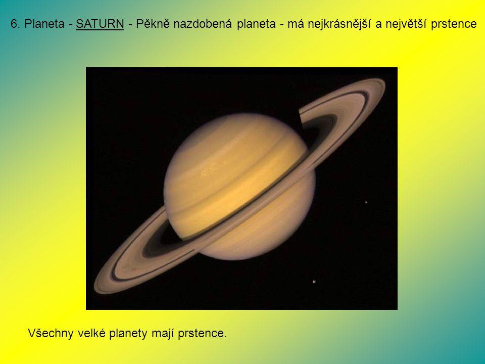 6. Planeta - SATURN - Pěkně nazdobená planeta - má nejkrásnější a největší prstence
