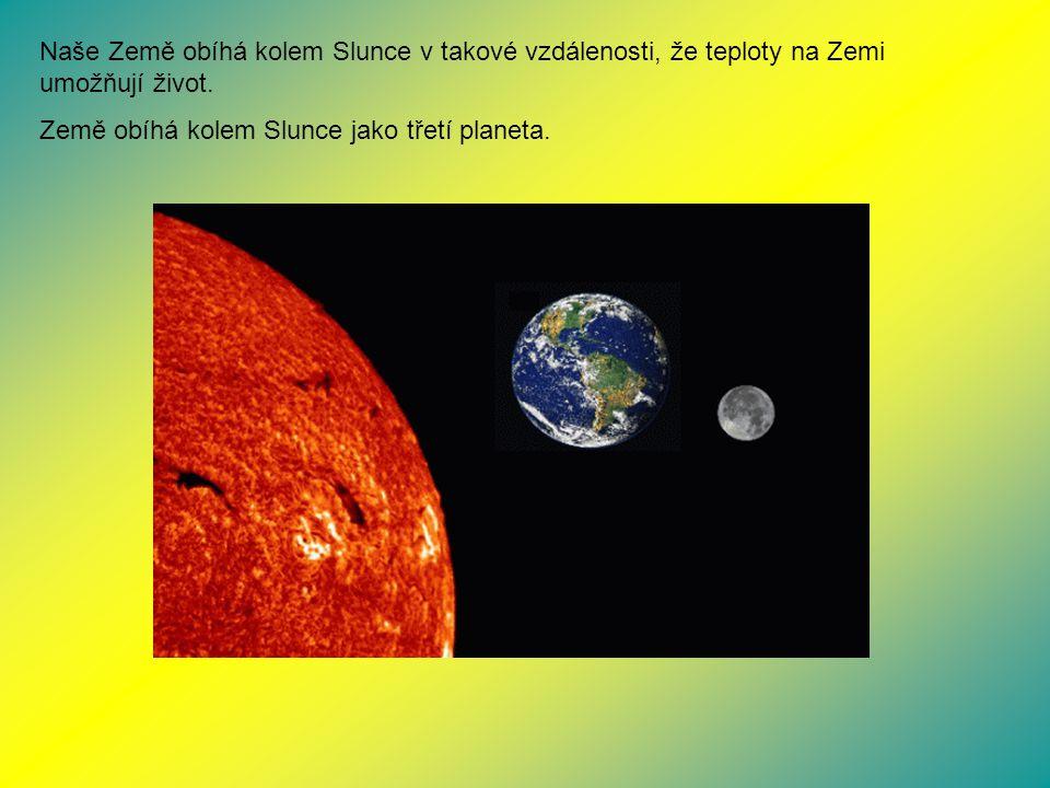 Naše Země obíhá kolem Slunce v takové vzdálenosti, že teploty na Zemi umožňují život.