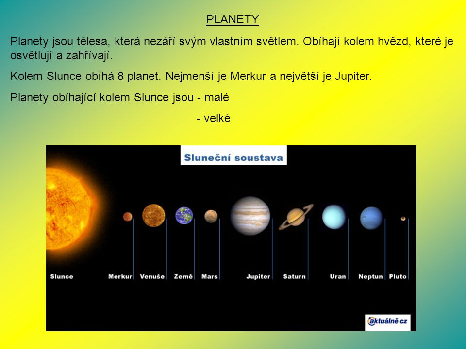 PLANETY Planety jsou tělesa, která nezáří svým vlastním světlem. Obíhají kolem hvězd, které je osvětlují a zahřívají.