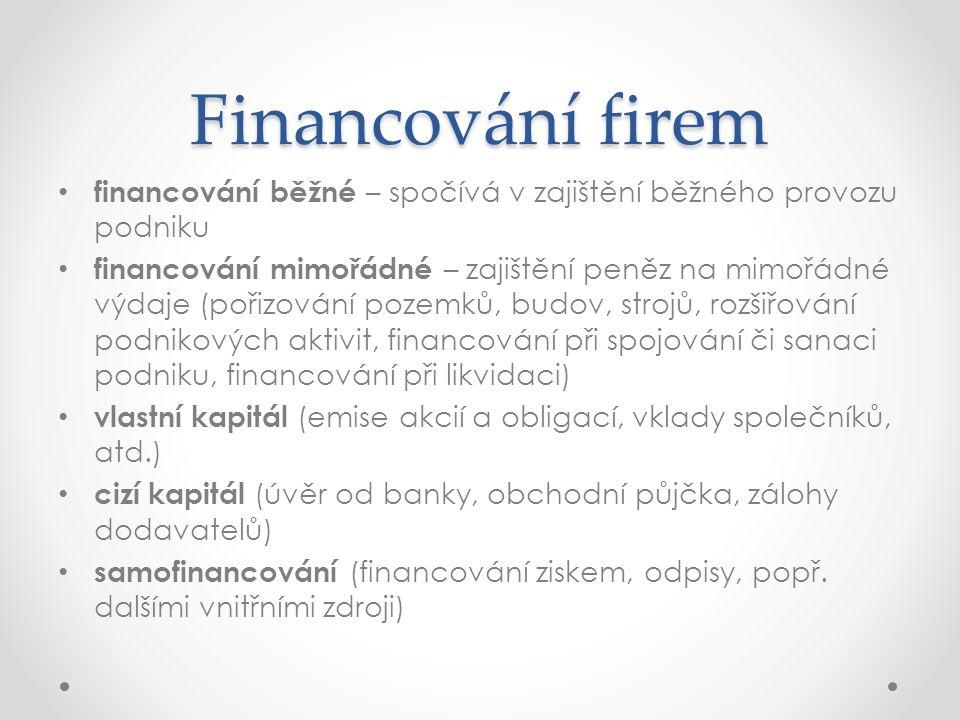 Financování firem financování běžné – spočívá v zajištění běžného provozu podniku.
