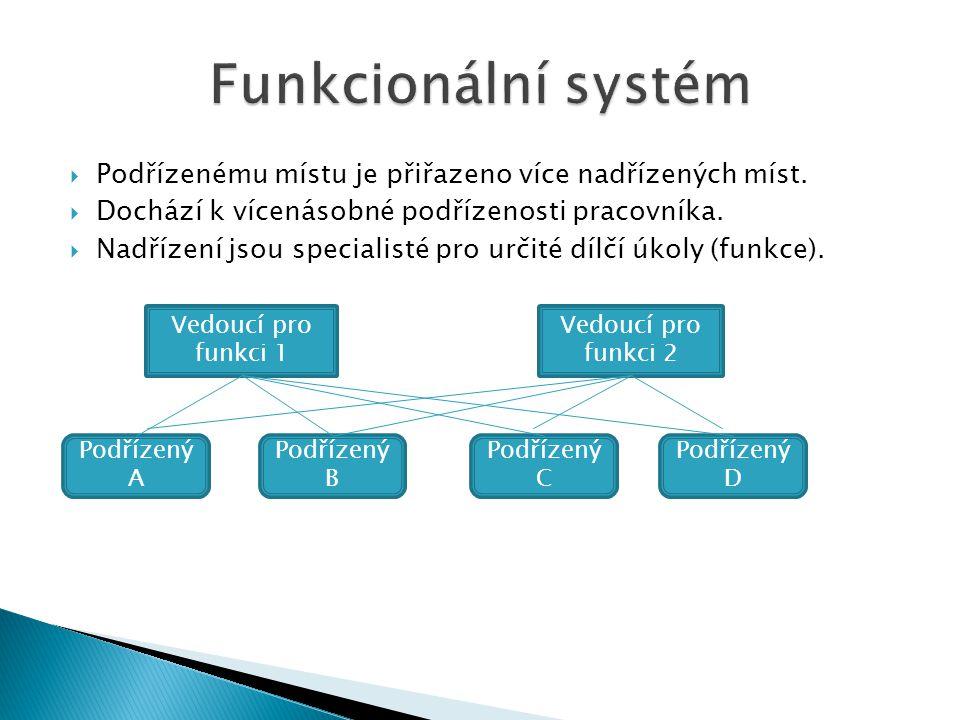 Funkcionální systém Podřízenému místu je přiřazeno více nadřízených míst. Dochází k vícenásobné podřízenosti pracovníka.