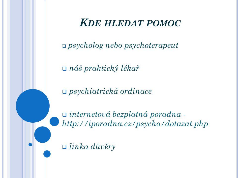 Kde hledat pomoc náš praktický lékař psychiatrická ordinace
