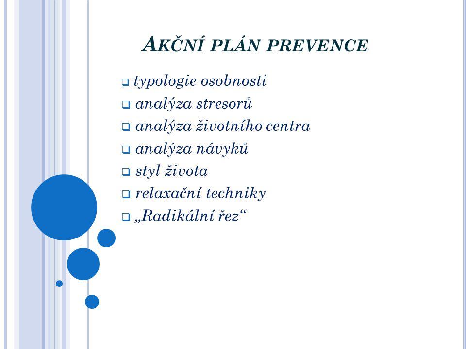Akční plán prevence analýza stresorů analýza životního centra