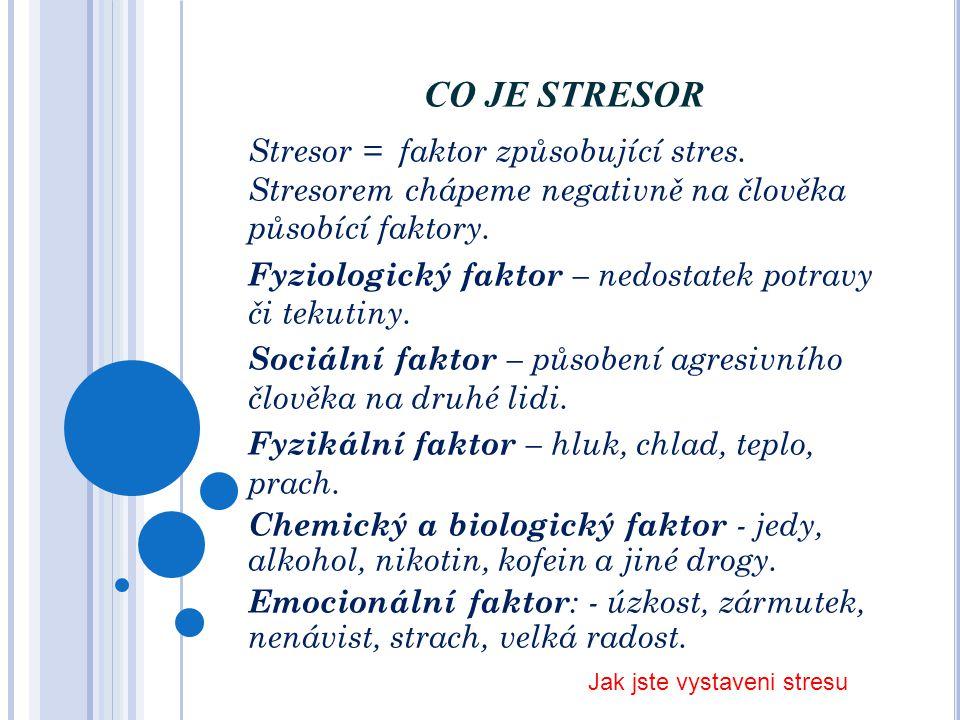 CO JE STRESOR Stresor = faktor způsobující stres. Stresorem chápeme negativně na člověka působící faktory.