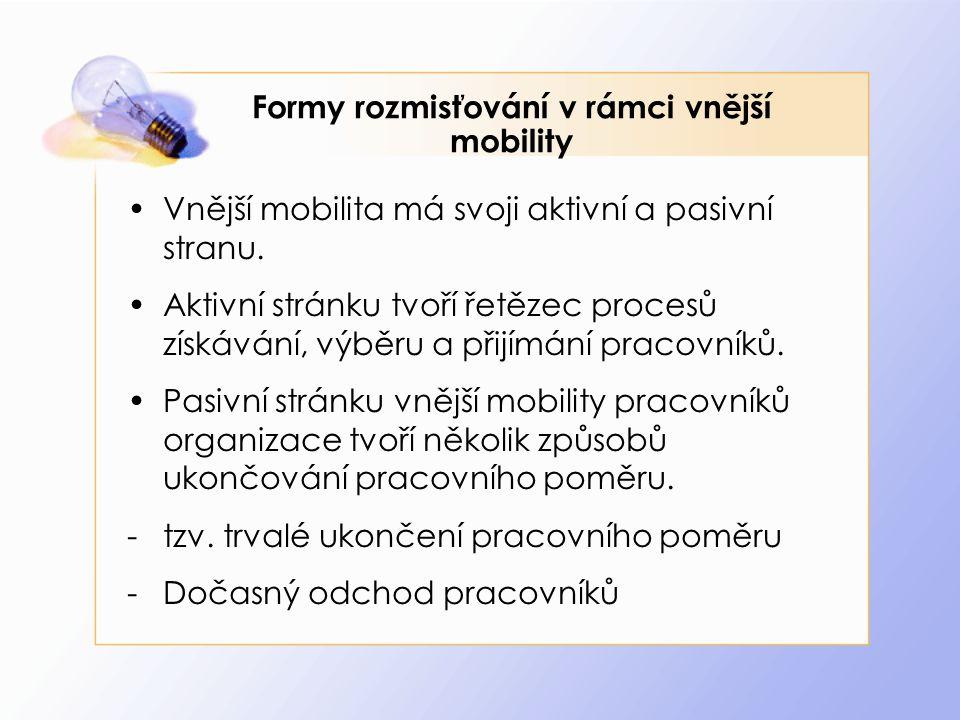 Formy rozmisťování v rámci vnější mobility