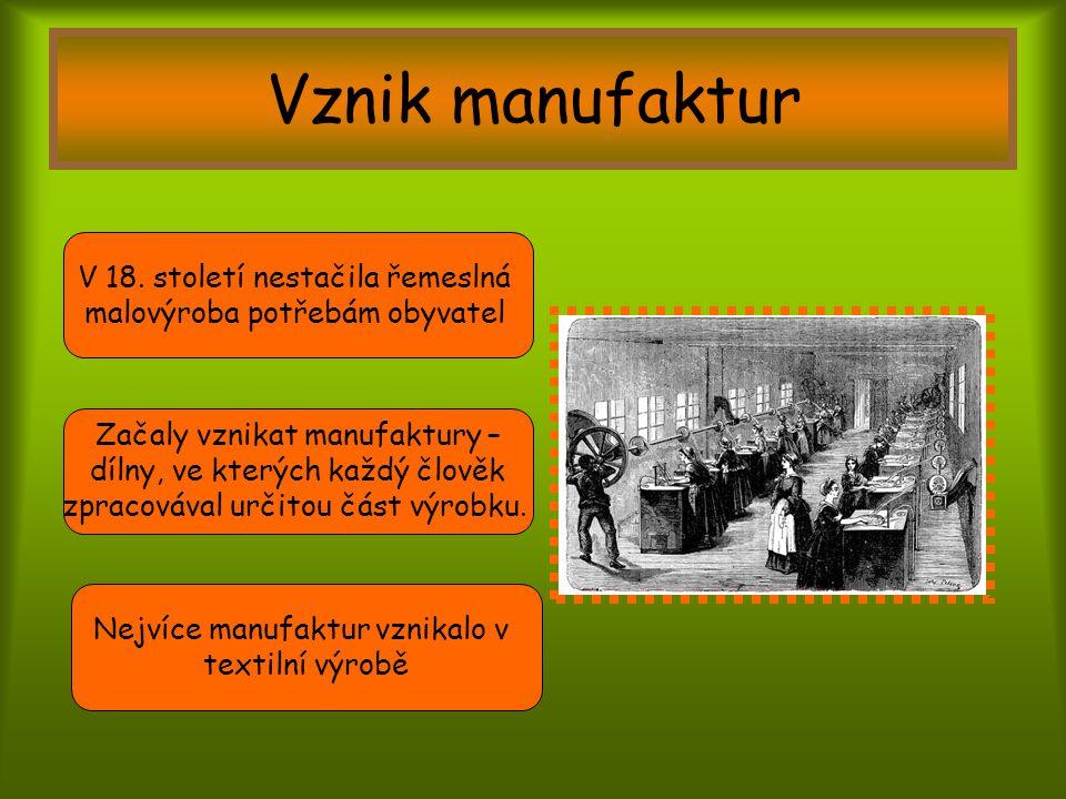 Vznik manufaktur V 18. století nestačila řemeslná