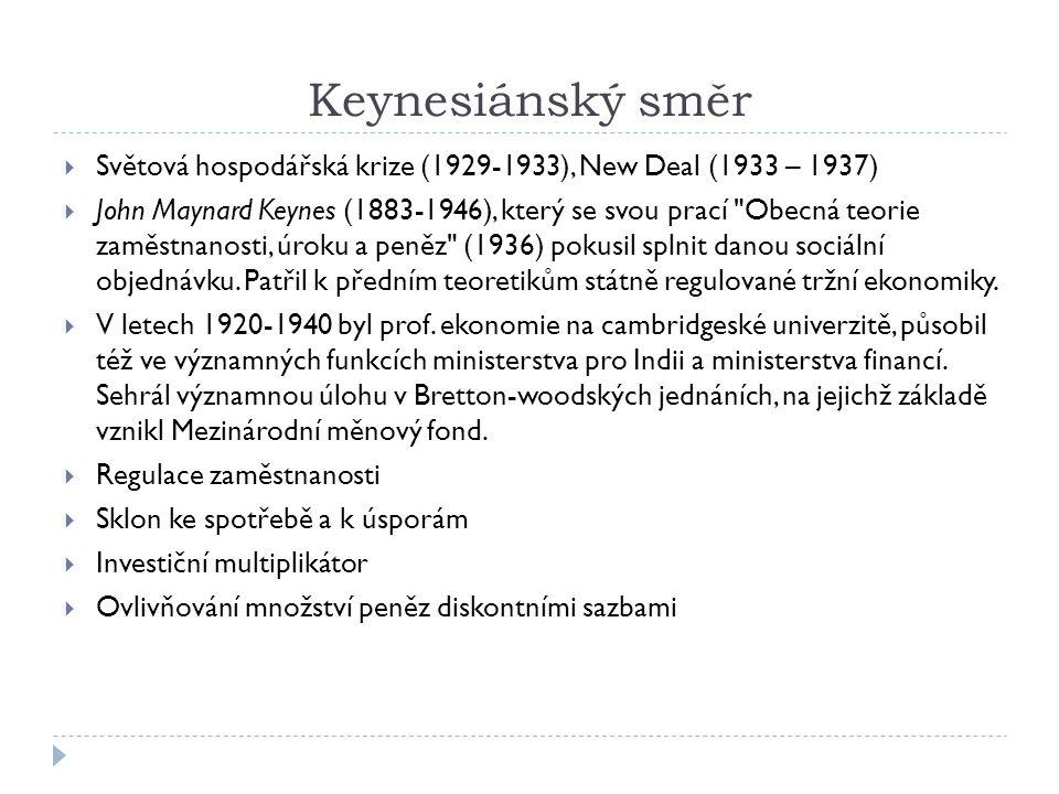 Keynesiánský směr Světová hospodářská krize (1929-1933), New Deal (1933 – 1937)