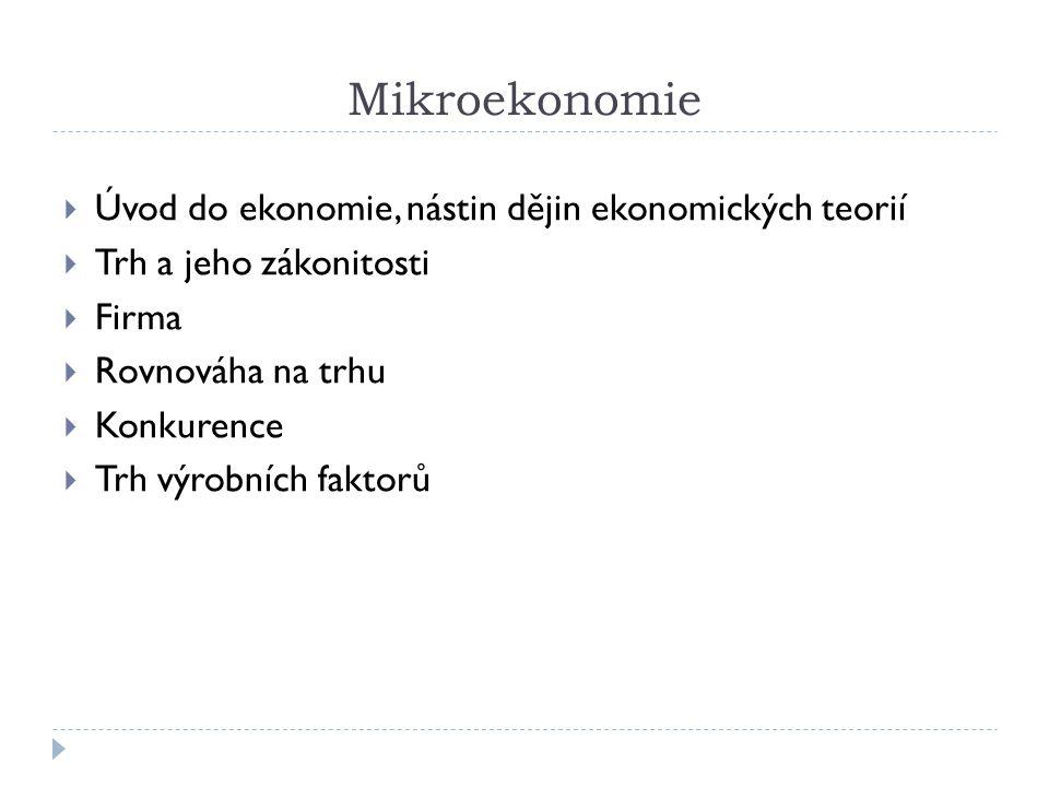 Mikroekonomie Úvod do ekonomie, nástin dějin ekonomických teorií