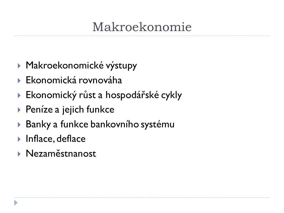 Makroekonomie Makroekonomické výstupy Ekonomická rovnováha