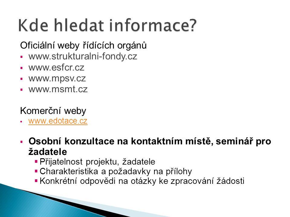 Kde hledat informace Oficiální weby řídících orgánů