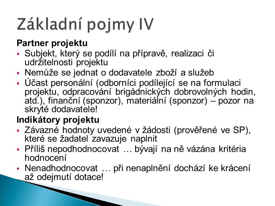 Základní pojmy IV Partner projektu