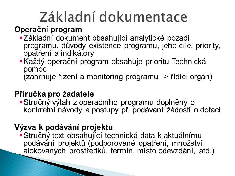 Základní dokumentace Operační program
