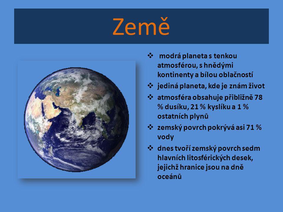 Země modrá planeta s tenkou atmosférou, s hnědými kontinenty a bílou oblačností. jediná planeta, kde je znám život.