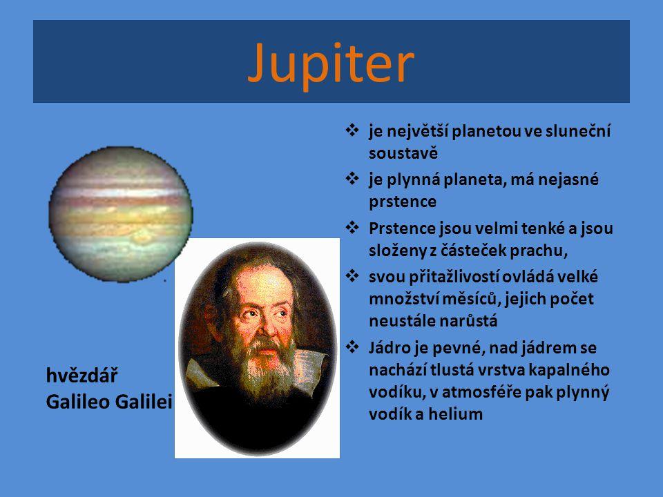 Jupiter hvězdář Galileo Galilei