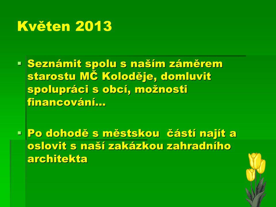 Květen 2013 Seznámit spolu s naším záměrem starostu MČ Koloděje, domluvit spolupráci s obcí, možnosti financování…