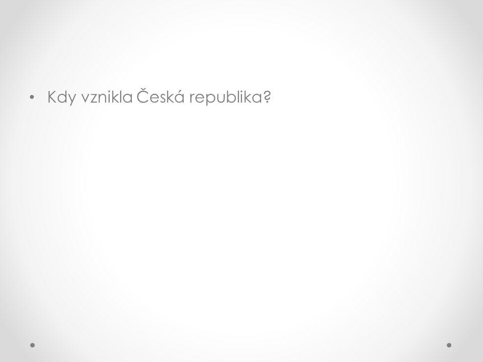 Kdy vznikla Česká republika