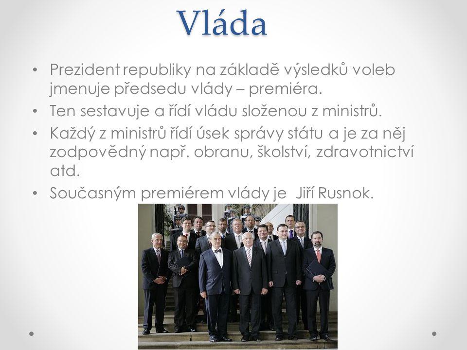 Vláda Prezident republiky na základě výsledků voleb jmenuje předsedu vlády – premiéra. Ten sestavuje a řídí vládu složenou z ministrů.