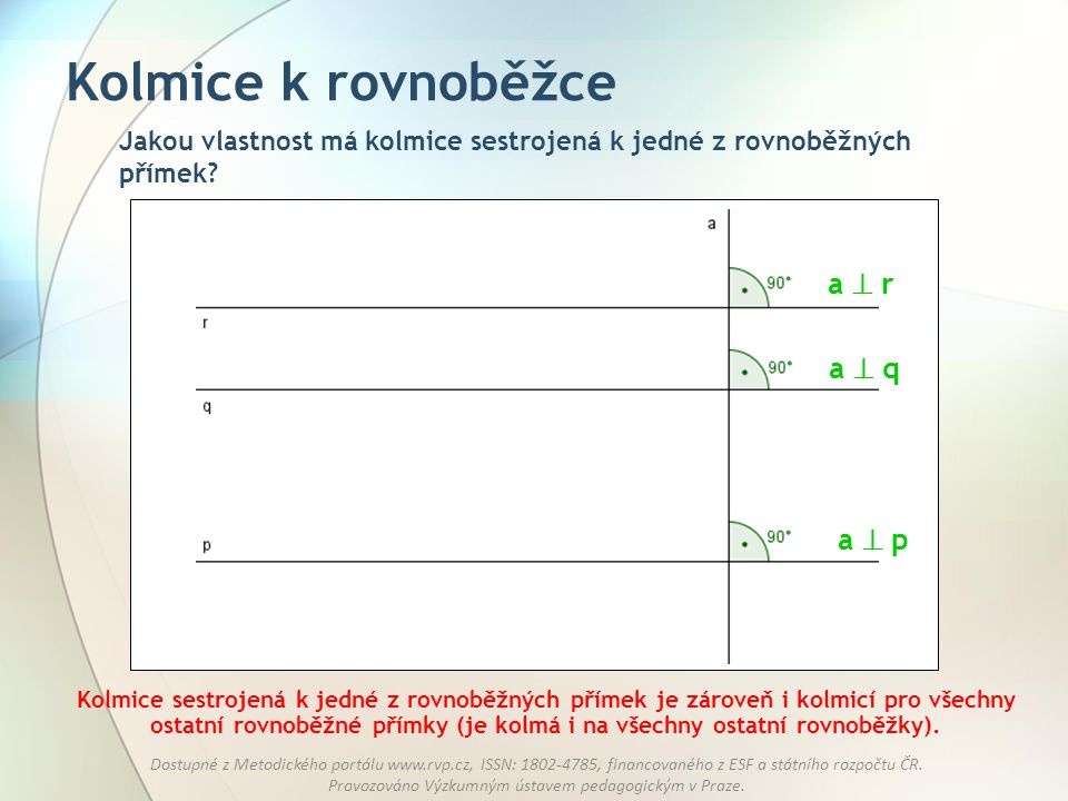 Kolmice k rovnoběžce a  r a  q a  p
