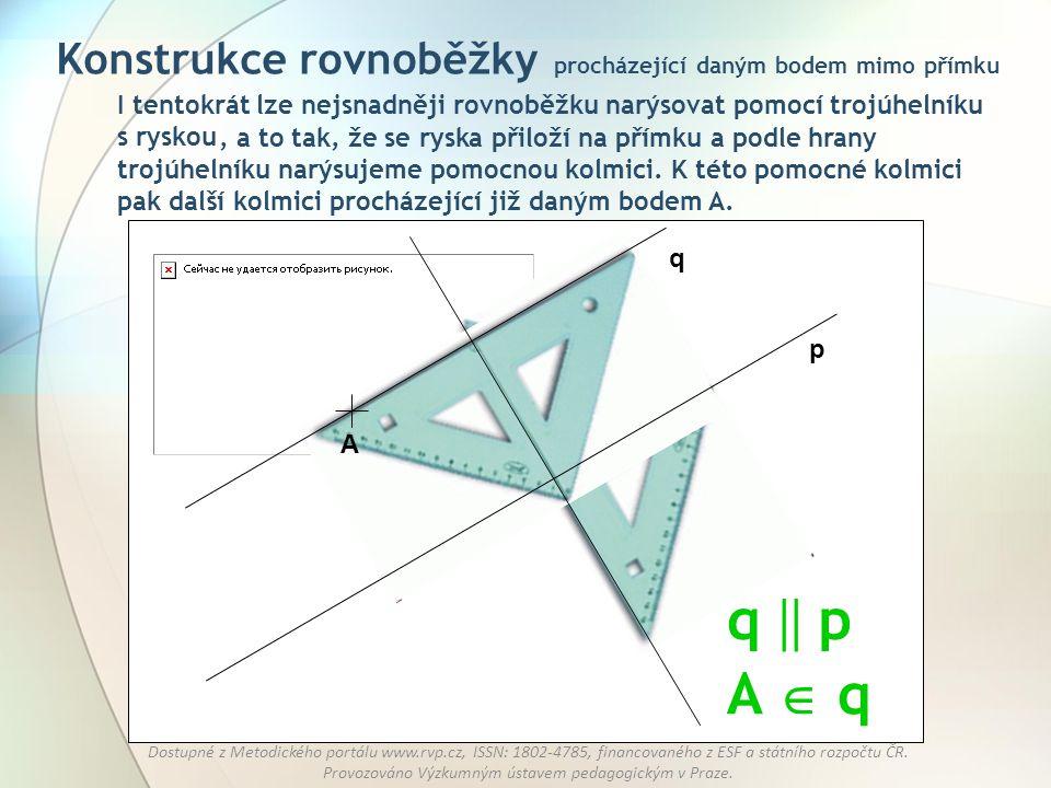 Konstrukce rovnoběžky procházející daným bodem mimo přímku