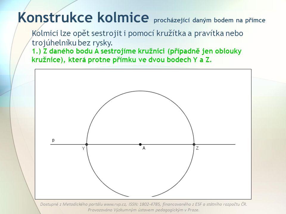 Konstrukce kolmice procházející daným bodem na přímce