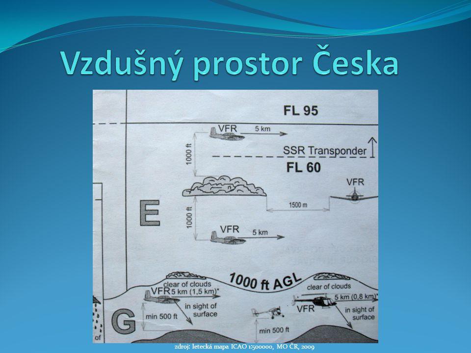 zdroj: letecká mapa ICAO 1:500000, MO ČR, 2009