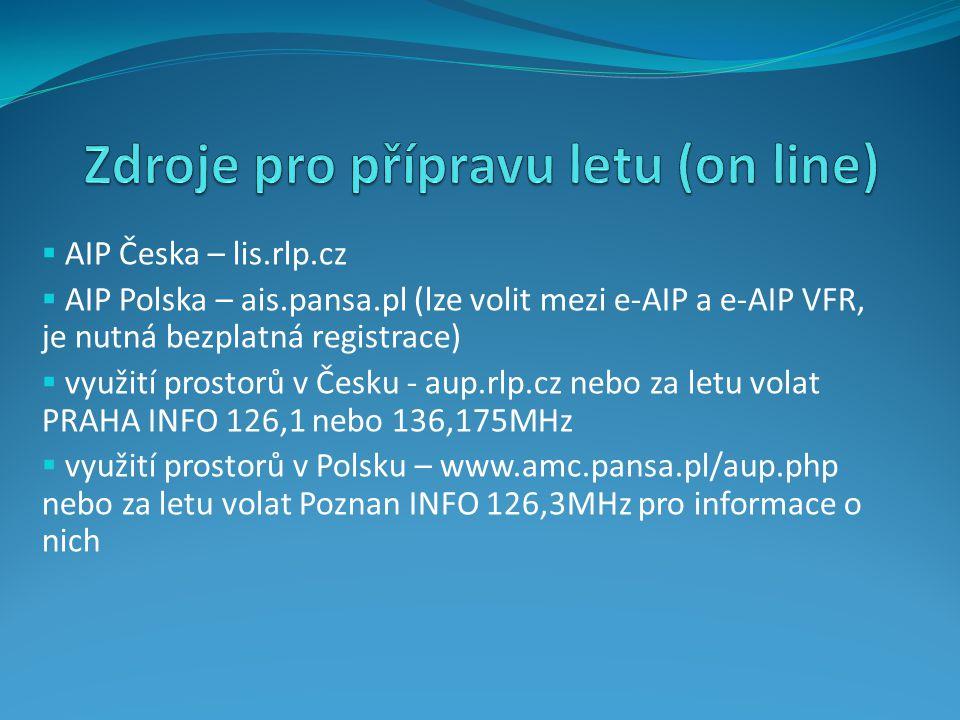 Zdroje pro přípravu letu (on line)