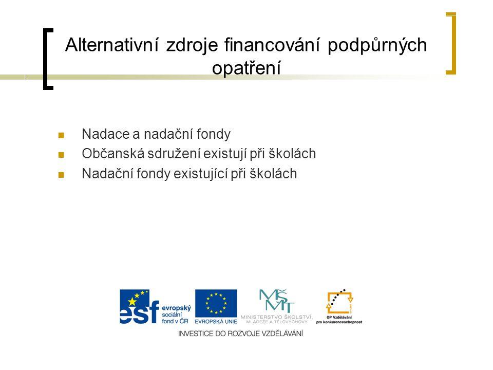 Alternativní zdroje financování podpůrných opatření