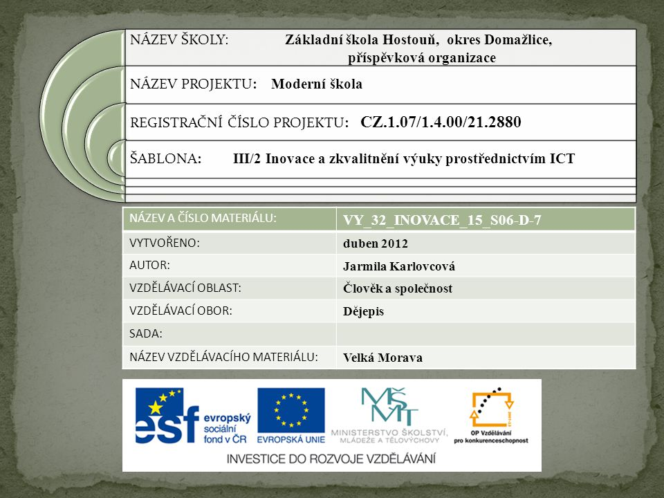 NÁZEV ŠKOLY: Základní škola Hostouň, okres Domažlice,
