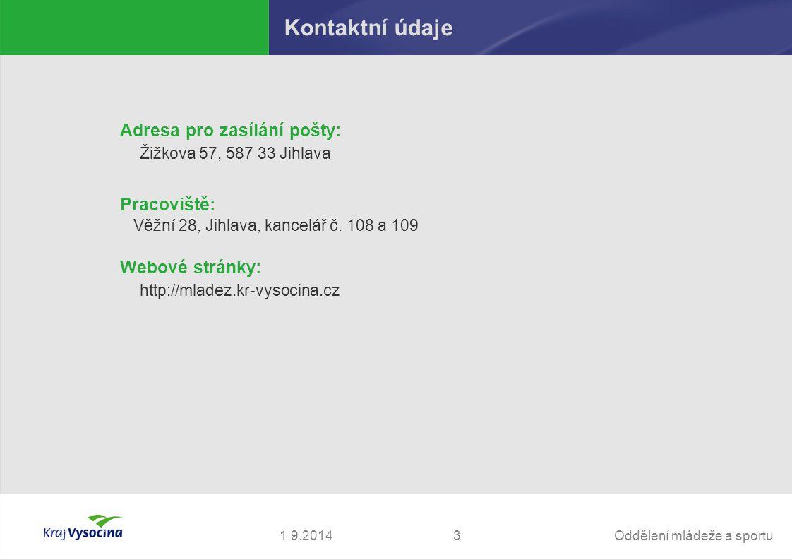 Kontaktní údaje Adresa pro zasílání pošty: Pracoviště: Webové stránky: