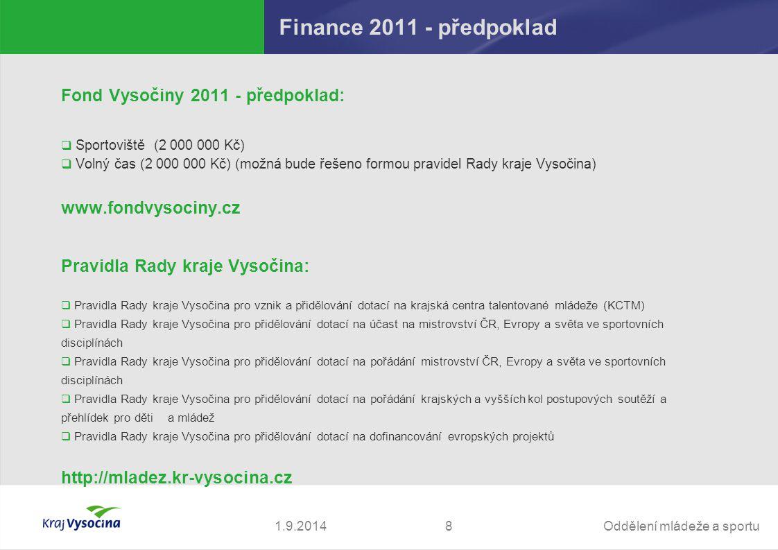 Finance 2011 - předpoklad Fond Vysočiny 2011 - předpoklad: