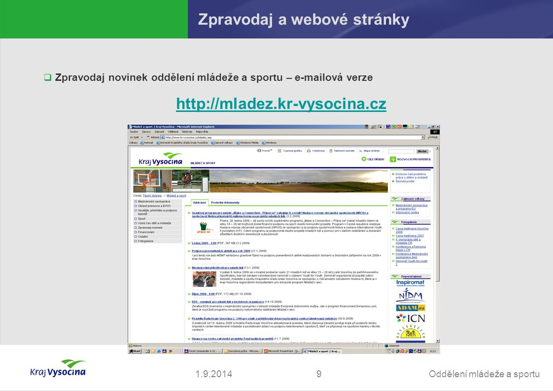Zpravodaj a webové stránky